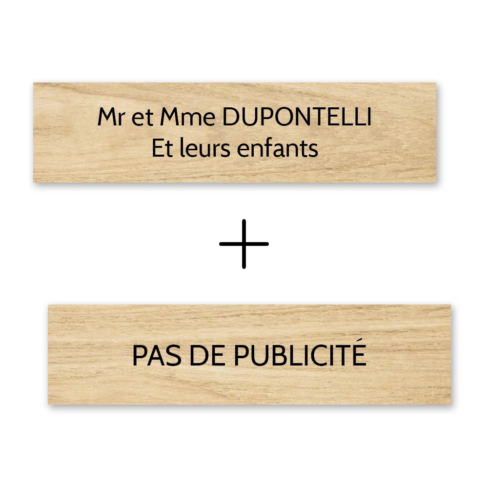Plaque nom + Plaque Stop Pub pour boite aux lettres format Decayeux (100x25mm) effet bois clair lettres noires - 2 lignes