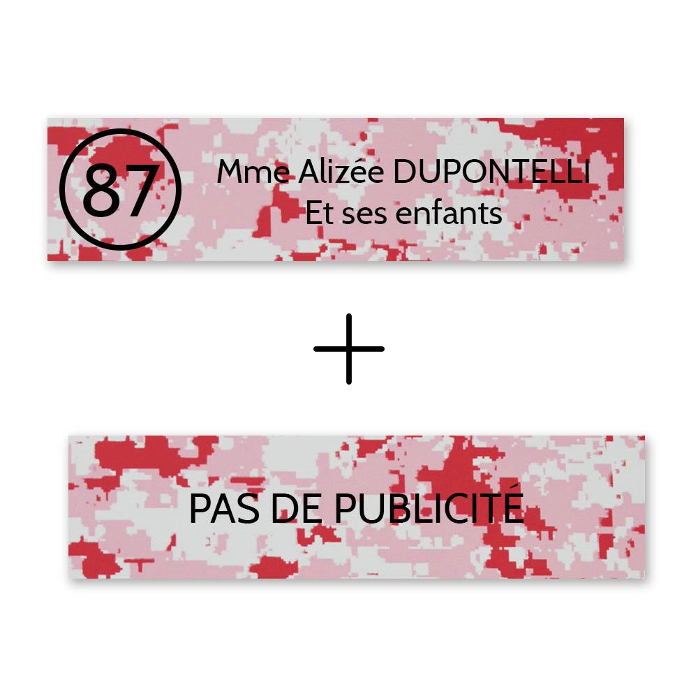 Plaque nom avec numéro + Plaque Stop Pub boite aux lettres format Decayeux (100x25mm) Camo Rose lettres noires 2 lignes