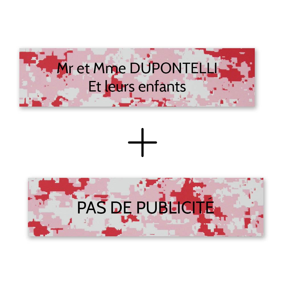 Plaque nom + Plaque Stop Pub pour boite aux lettres format Decayeux (100x25mm) Camo Rose lettres noires - 2 lignes