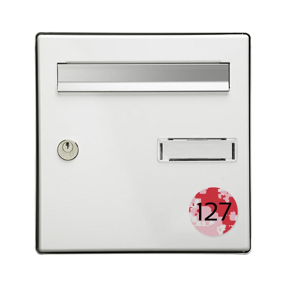Numéro pour boite aux lettres personnalisable format rond diamètre 60 mm couleur Camo Rose chiffres noirs