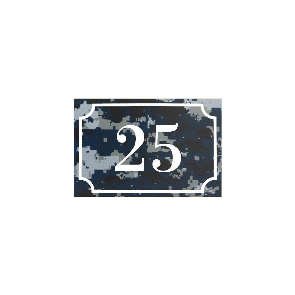 Numéro de maison / rue gravé et personnalisé couleur Camo Bleu chiffres blancs - Signalétique extérieure