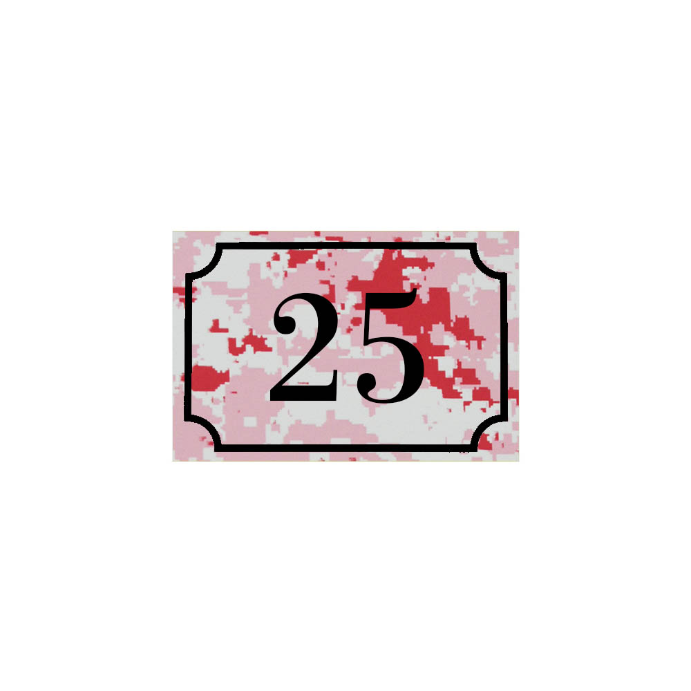 Numéro de maison / rue gravé et personnalisé couleur Camo Rose chiffres noirs - Signalétique extérieure