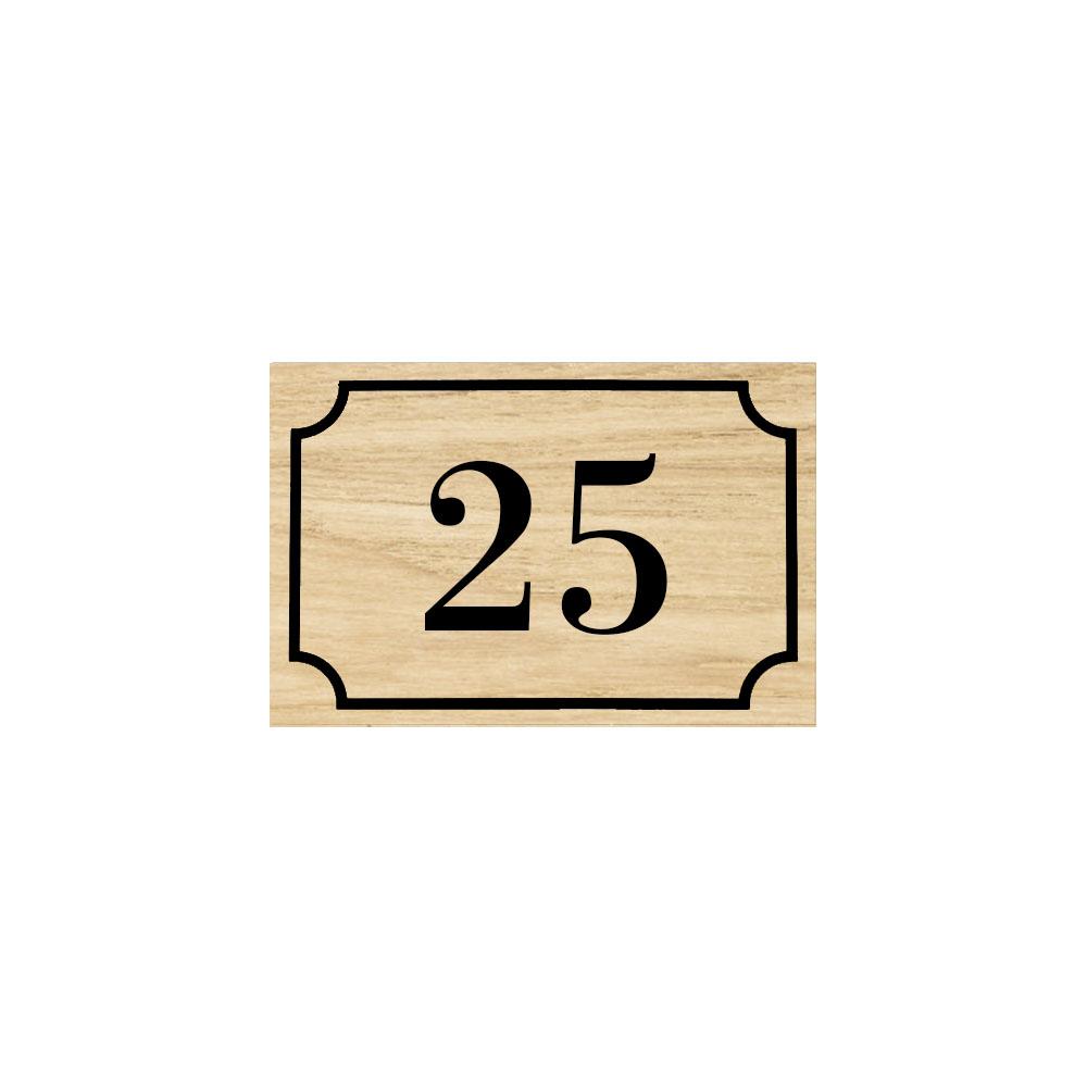 Numéro de maison / rue gravé et personnalisé couleur effet bois clair chiffres blancs - Signalétique extérieure