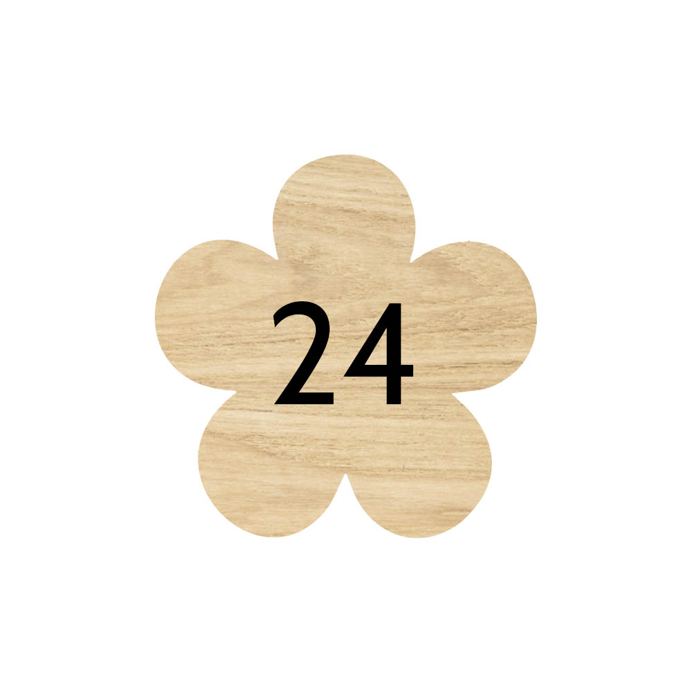 Numéro fantaisie personnalisable pour boite aux lettres couleur effet bois clair chiffres blancs - Modèle Fleur