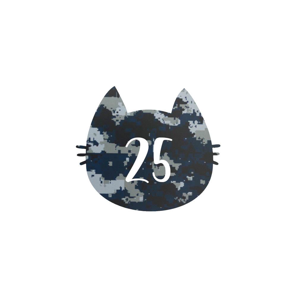 Numéro fantaisie personnalisable pour boite aux lettres couleur Camo Bleu chiffres blancs - Modèle Chat