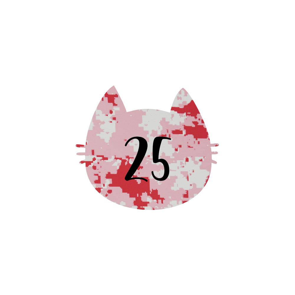 Numéro fantaisie personnalisable pour boite aux lettres couleur Camo Rose chiffres noirs - Modèle Chat