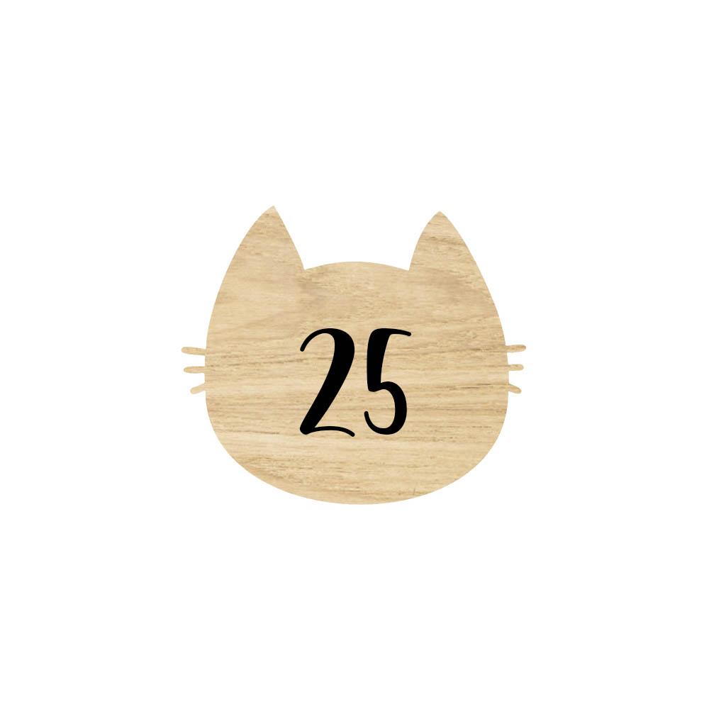 Numéro fantaisie personnalisable pour boite aux lettres couleur effet bois clair chiffres blancs - Modèle Chat