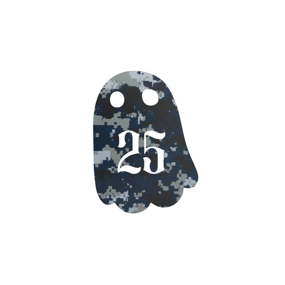 Numéro fantaisie personnalisable pour boite aux lettres couleur Camo Bleu chiffres blancs - Modèle Fantôme
