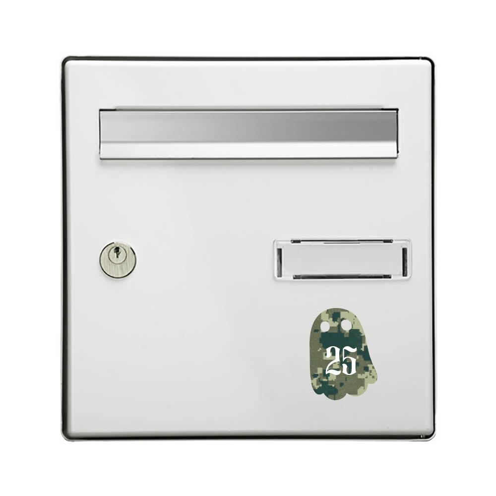 Numéro fantaisie personnalisable pour boite aux lettres couleur Camo Vert chiffres blancs - Modèle Fantôme