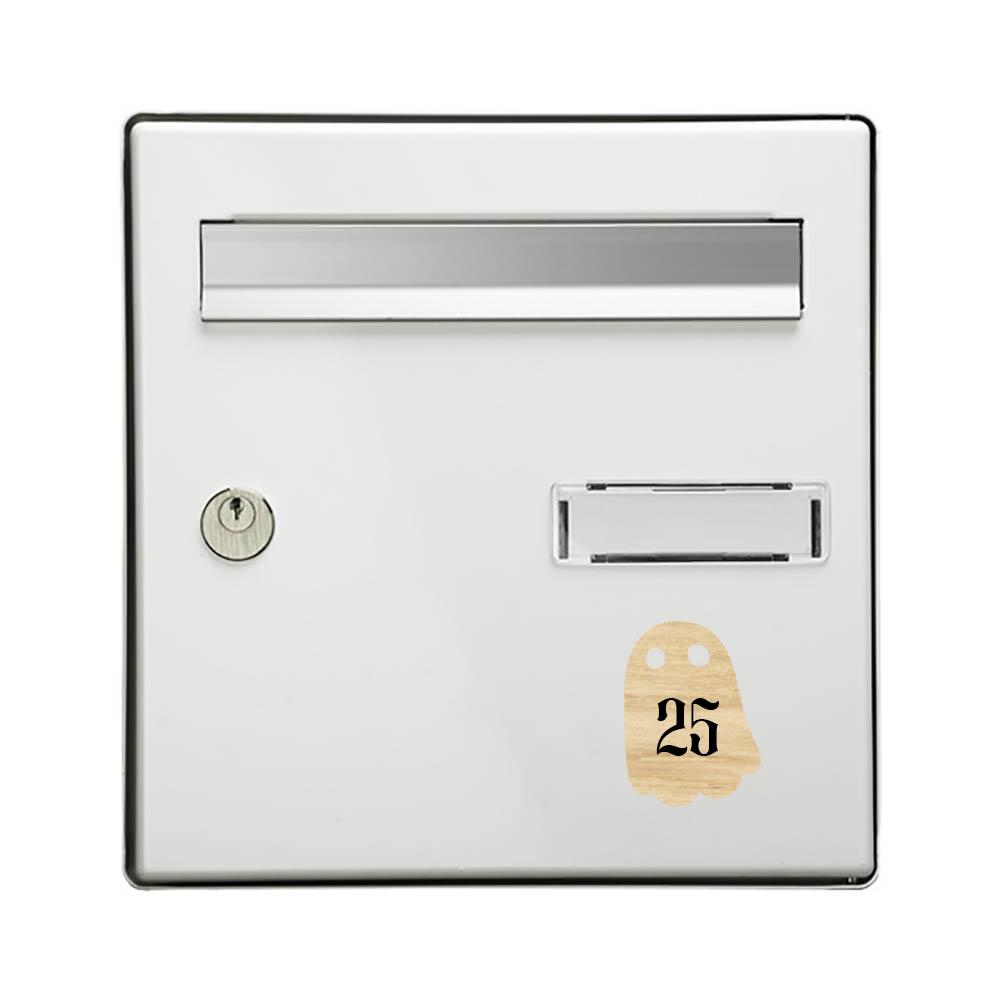 Numéro fantaisie personnalisable pour boite aux lettres couleur effet bois clair chiffres blancs - Modèle Fantôme