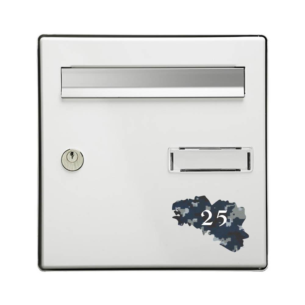 Numéro fantaisie personnalisable pour boite aux lettres couleur Camo Bleu chiffres blancs - Modèle région Bretagne