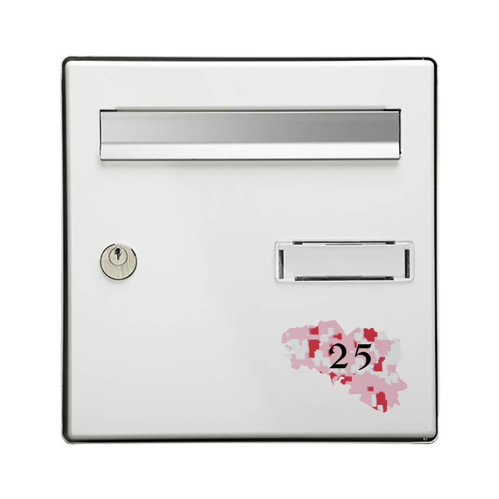 Numéro fantaisie personnalisable pour boite aux lettres couleur Camo Rose chiffres noirs - Modèle région Bretagne