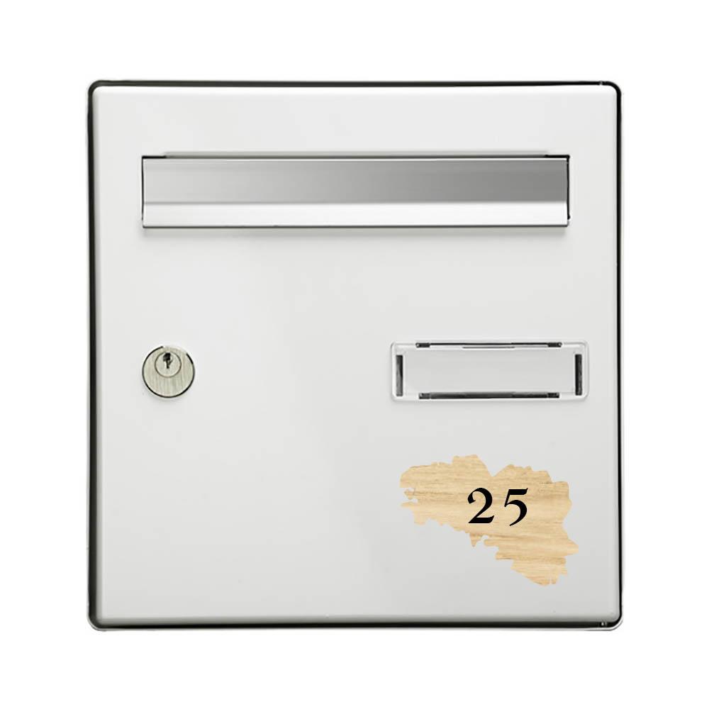 Numéro fantaisie personnalisable pour boite aux lettres couleur effet bois clair chiffres blancs - Modèle région Bretagne