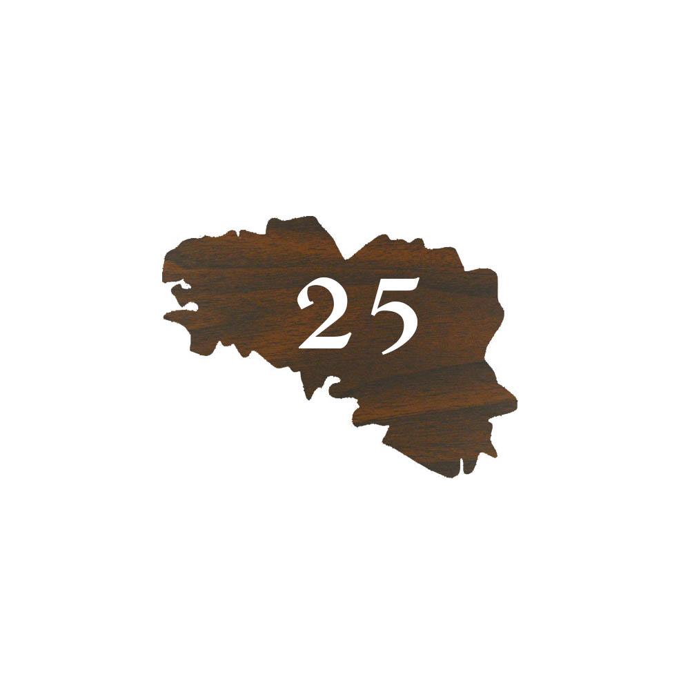 Numéro fantaisie personnalisable pour boite aux lettres couleur effet bois foncé chiffres blancs - Modèle région Bretagne