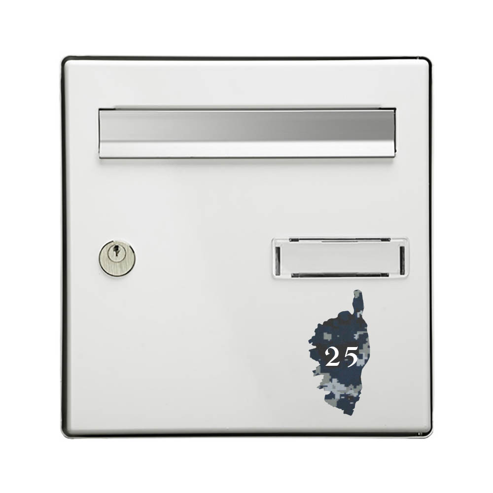 Numéro fantaisie personnalisable pour boite aux lettres couleur Camo Bleu chiffres blancs - Modèle région Corse