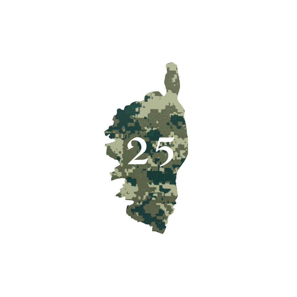 Numéro fantaisie personnalisable pour boite aux lettres couleur Camo Vert chiffres blancs - Modèle région Corse
