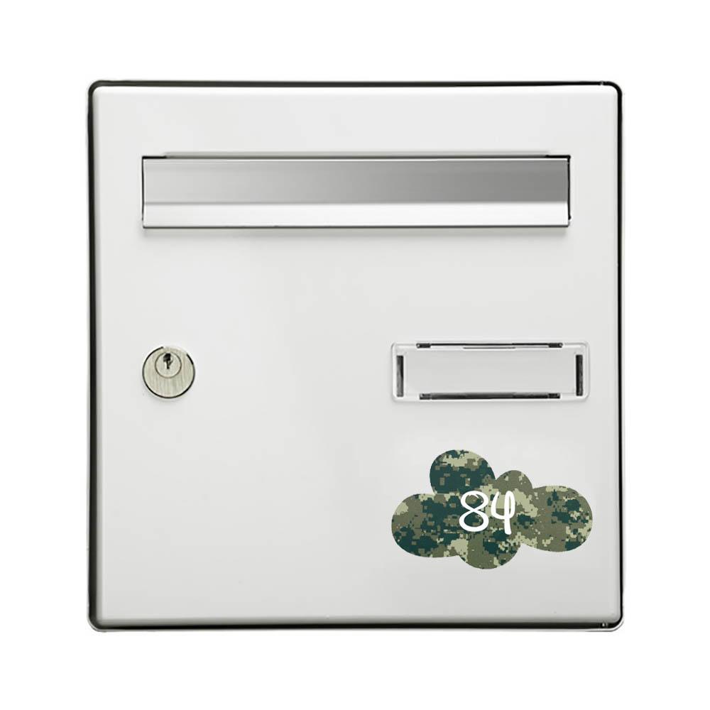 Numéro fantaisie personnalisable pour boite aux lettres couleur Camo Vert chiffres blancs - Modèle Nuage