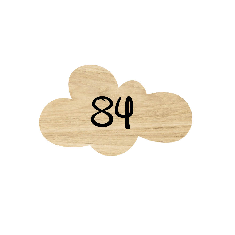 Numéro fantaisie personnalisable pour boite aux lettres couleur effet bois clair chiffres blancs - Modèle Nuage