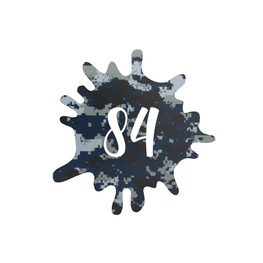 Numéro fantaisie personnalisable pour boite aux lettres couleur Camo Bleu chiffres blancs - Modèle Splash