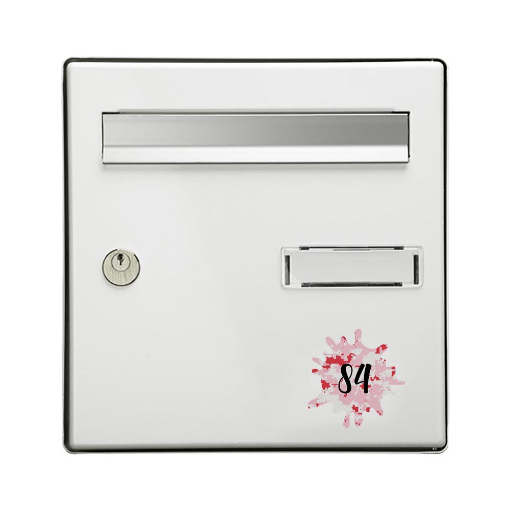 Numéro fantaisie personnalisable pour boite aux lettres couleur Camo Rose chiffres noirs - Modèle Splash