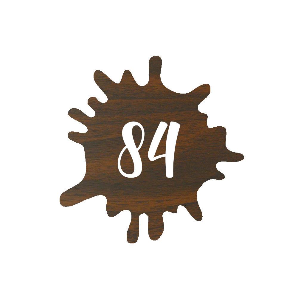 Numéro fantaisie personnalisable pour boite aux lettres couleur effet bois foncé chiffres blancs - Modèle Splash
