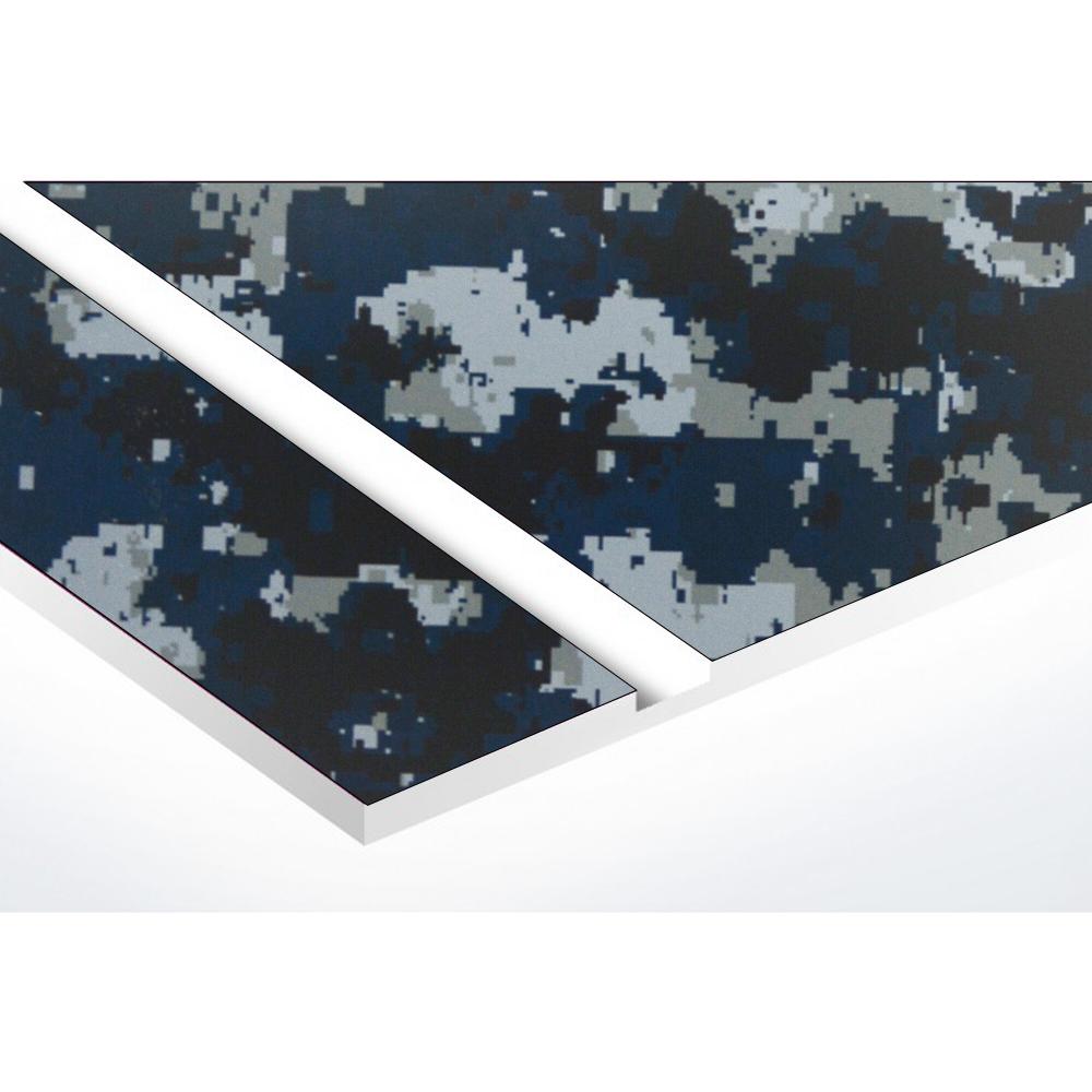 Plaque nom + Plaque Stop Pub pour boite aux lettres format Decayeux (100x25mm) Camo Bleu lettres blanches - 2 lignes
