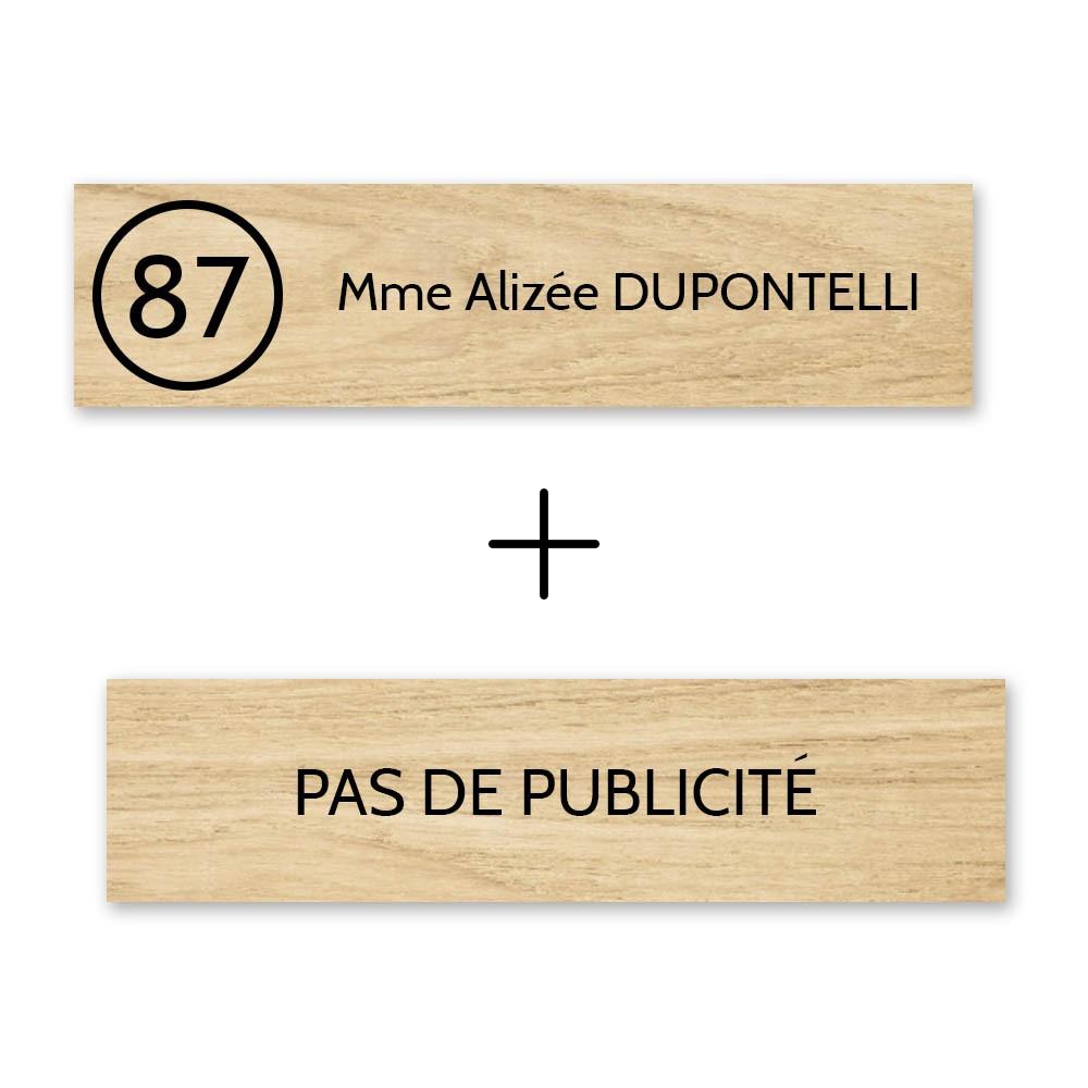 Plaque nom avec numéro + Plaque Stop Pub boite aux lettres format Edelen (99x24mm) effet bois clair lettres noires 1 ligne