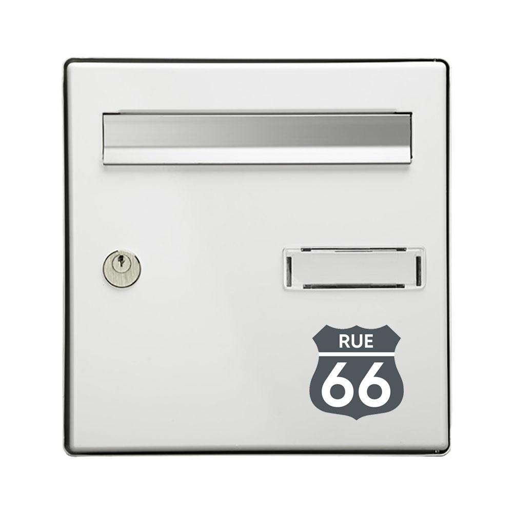 Numéro fantaisie personnalisable pour boite aux lettres couleur gris chiffres blancs - Modèle Route 66