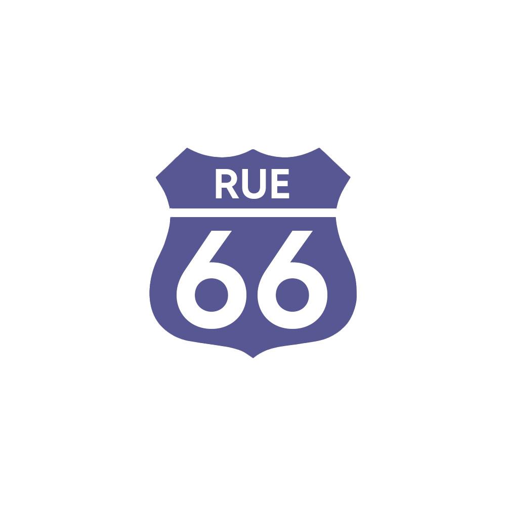 Numéro fantaisie personnalisable pour boite aux lettres couleur violet chiffres blancs - Modèle Route 66
