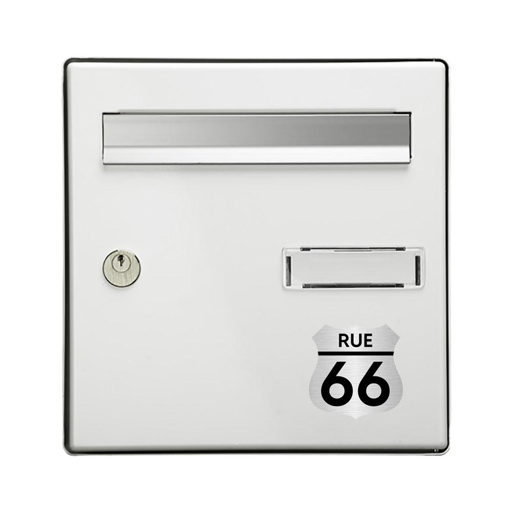 Numéro fantaisie personnalisable pour boite aux lettres couleur argent chiffres noirs - Modèle Route 66