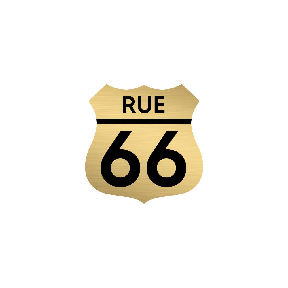 Numéro fantaisie personnalisable pour boite aux lettres couleur or brossé chiffres noirs - Modèle Route 66