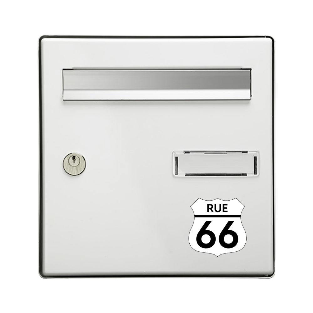 Numéro fantaisie personnalisable pour boite aux lettres couleur blanc chiffres noirs - Modèle Route 66
