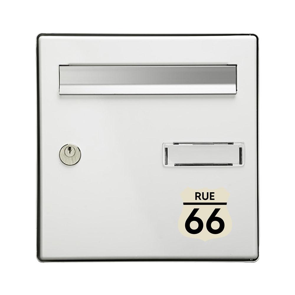 Numéro fantaisie personnalisable pour boite aux lettres couleur beige chiffres noirs - Modèle Route 66