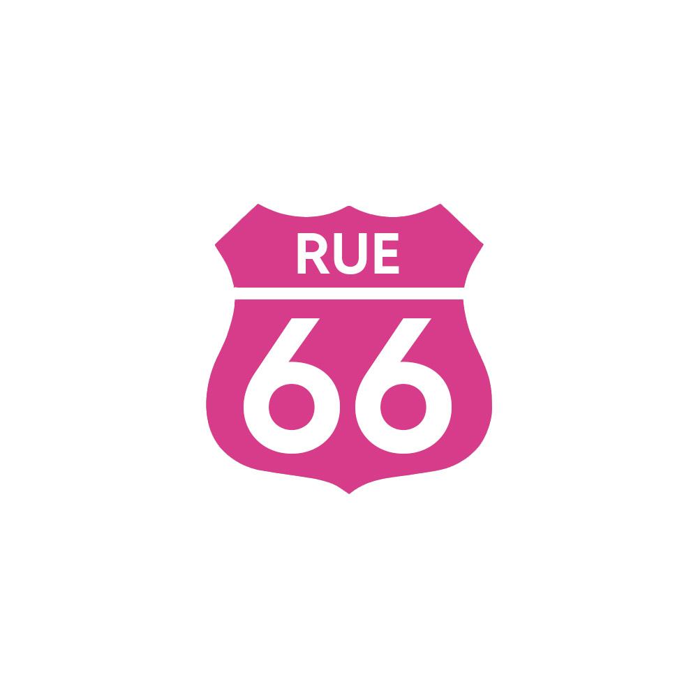 Numéro fantaisie personnalisable pour boite aux lettres couleur rose chiffres blancs - Modèle Route 66
