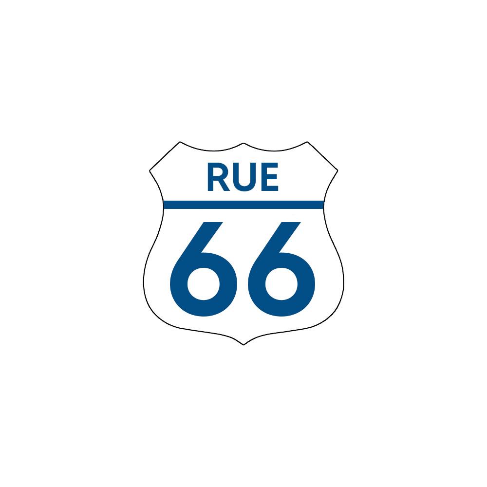 Numéro fantaisie personnalisable pour boite aux lettres couleur blanc chiffres bleus - Modèle Route 66