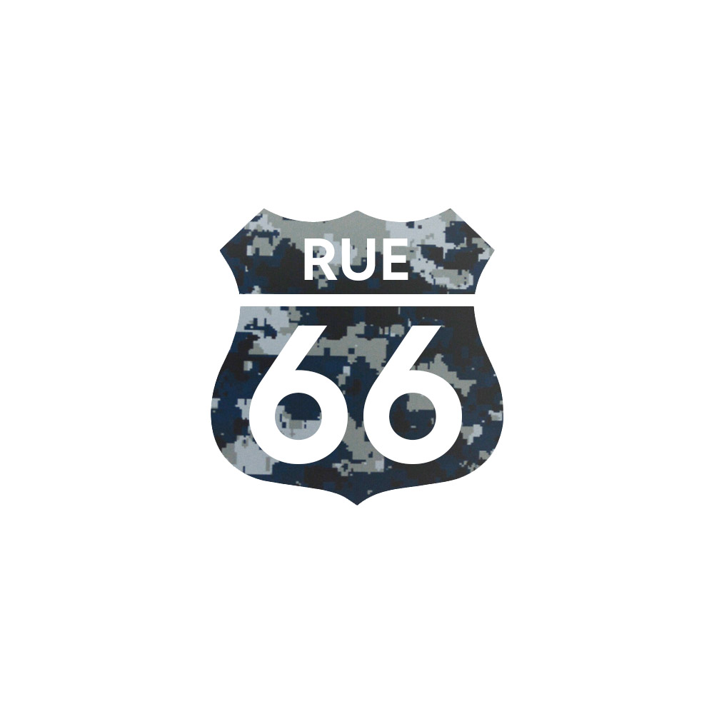 Numéro fantaisie personnalisable pour boite aux lettres couleur Camo Bleu chiffres blancs - Modèle Route 66