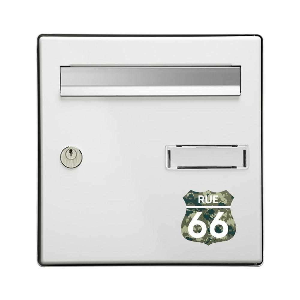 Numéro fantaisie personnalisable pour boite aux lettres couleur Camo Vert chiffres blancs - Modèle Route 66