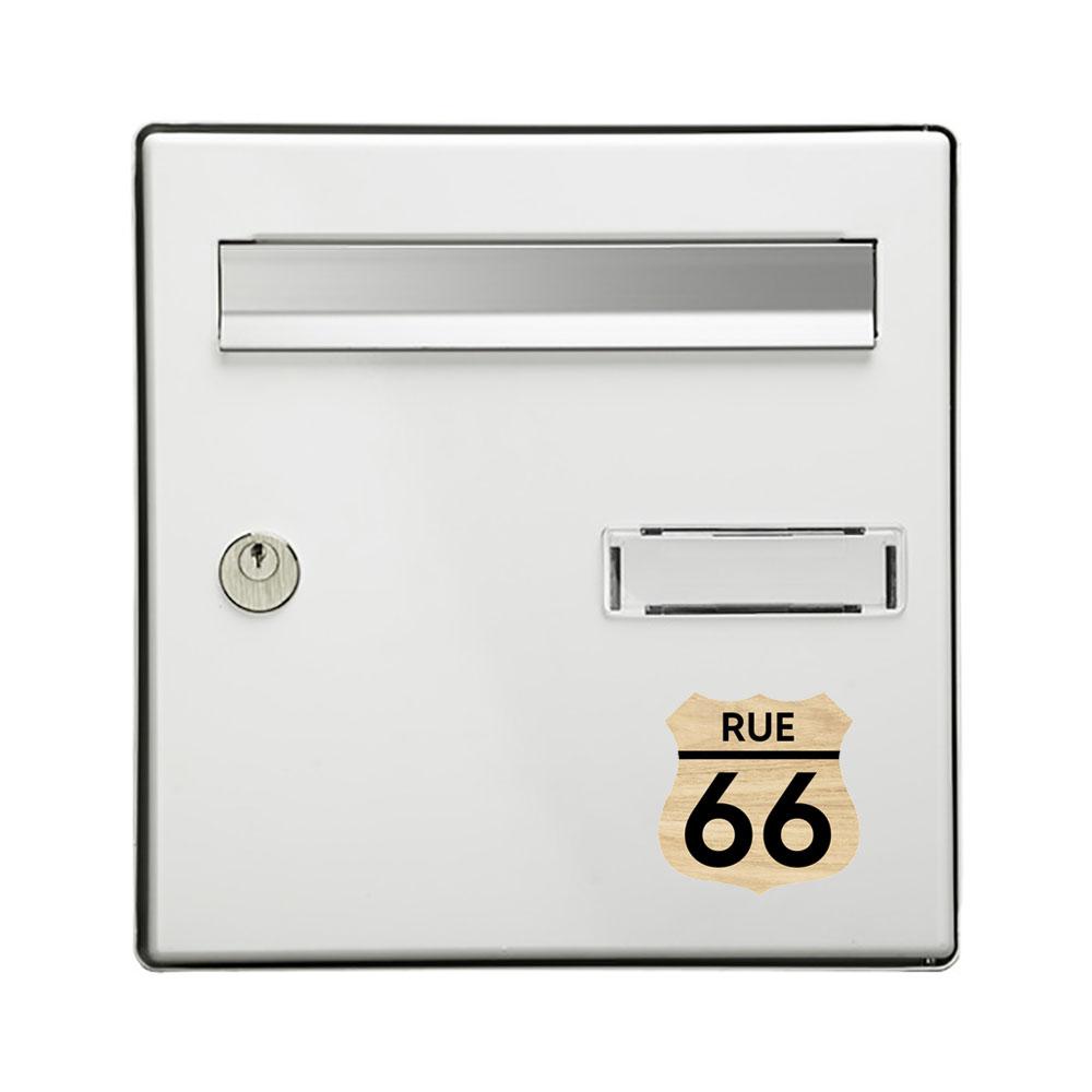 Numéro fantaisie personnalisable pour boite aux lettres couleur effet bois clair chiffres noirs - Modèle Route 66