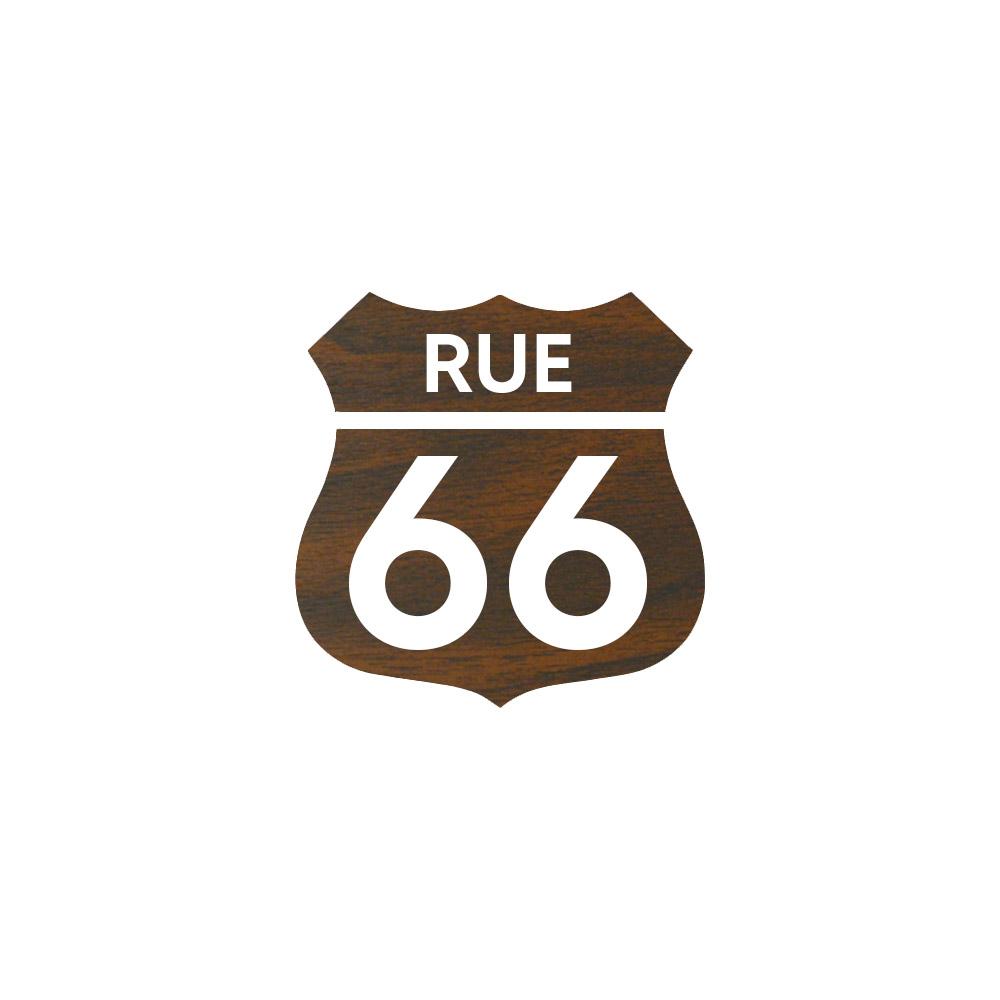 Numéro fantaisie personnalisable pour boite aux lettres couleur effet bois foncé chiffres blancs - Modèle Route 66