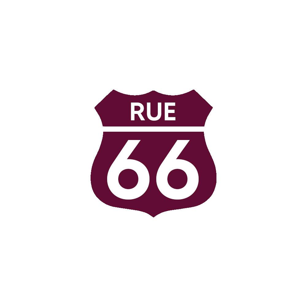 Numéro fantaisie personnalisable pour boite aux lettres couleur bordeaux chiffres blancs - Modèle Route 66