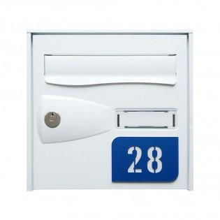 Numéro de rue modèle MINI URBAN à personnaliser pour boite aux lettres - Couleur bleu fond blanc