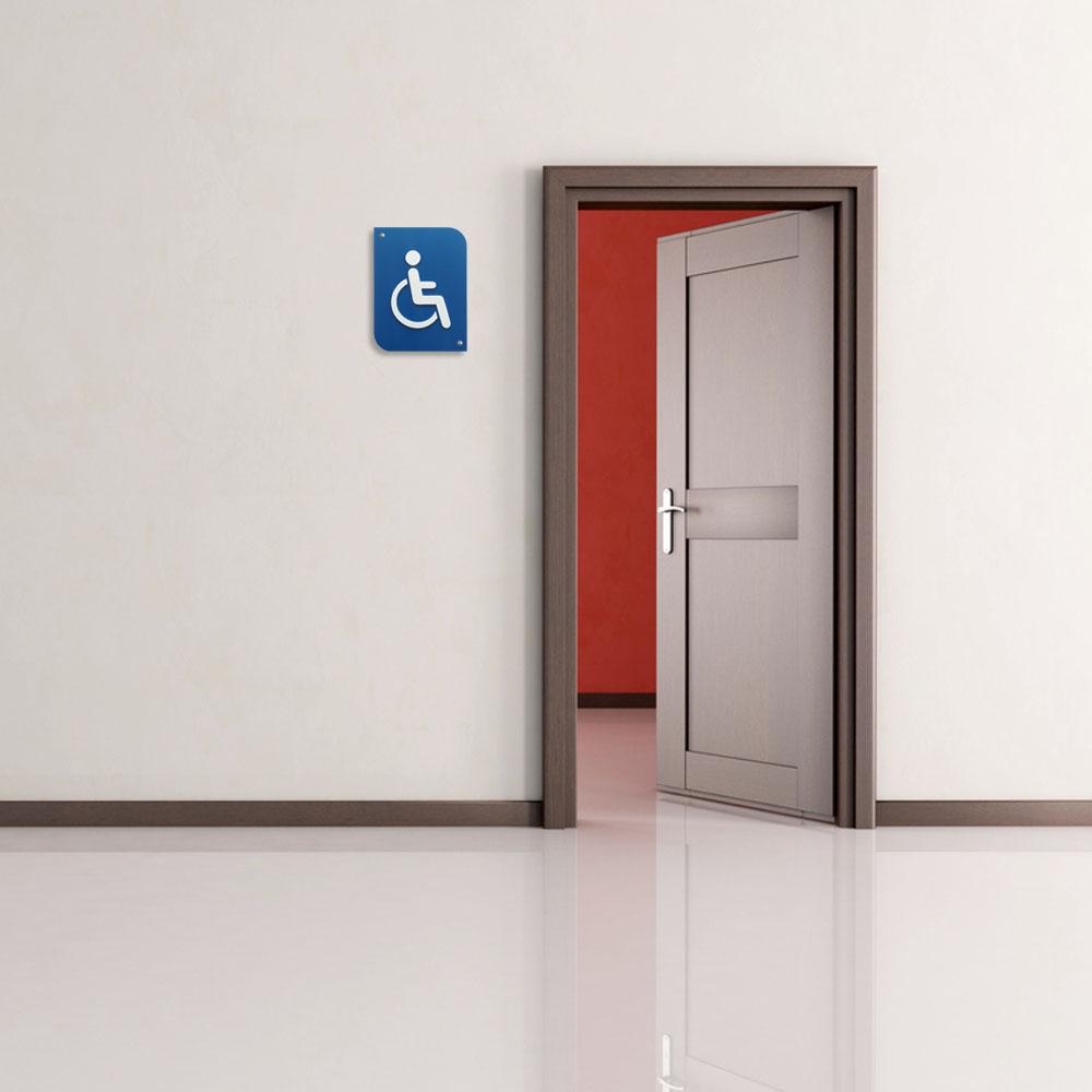Pictogramme 3D PMR, plaque de porte 3D Handicap en PVC couleur bleu / blanc - Signalétique de porte