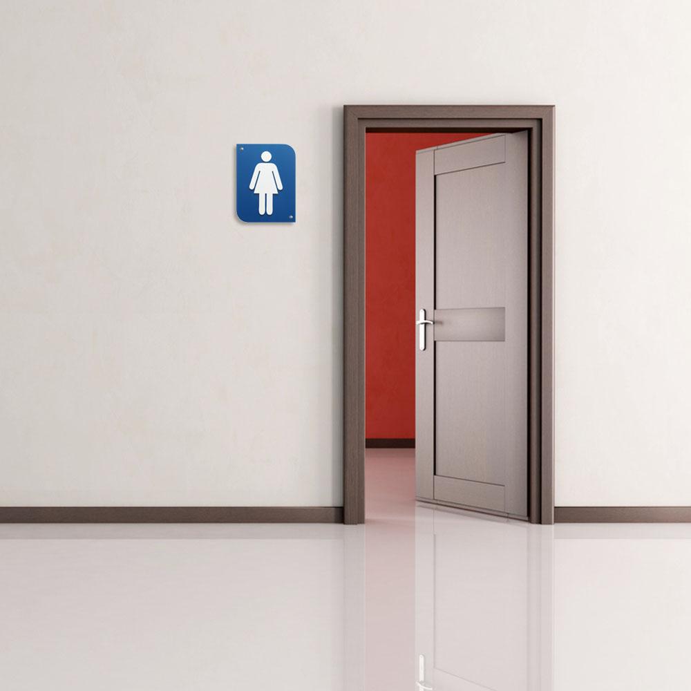Pictogramme 3D Femme, plaque de porte 3D Femme en PVC couleur bleu / blanc - Signalétique de porte
