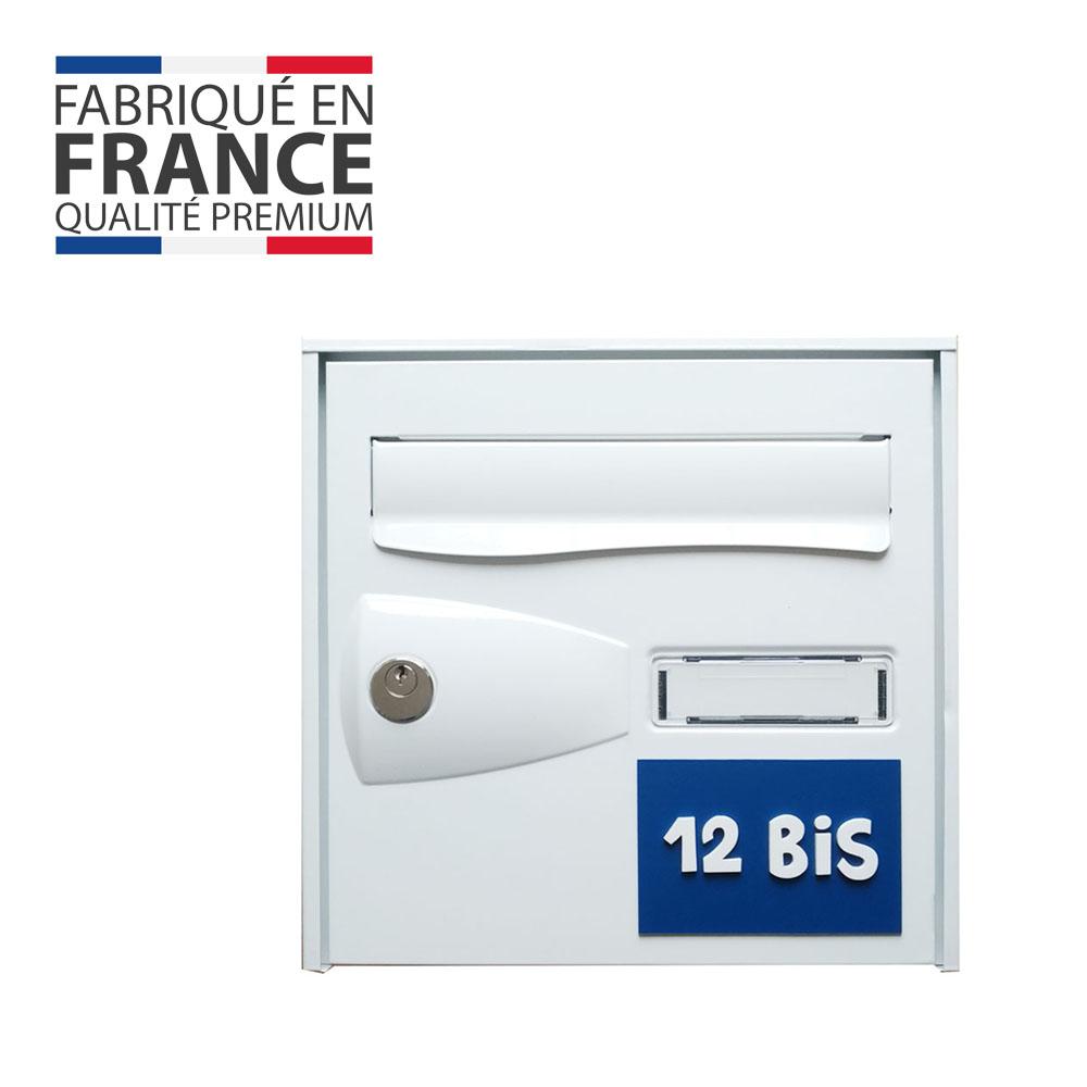 Numéro de maison / rue 3D personnalisé couleur bleu chiffres blancs - 12 cm x 8 cm
