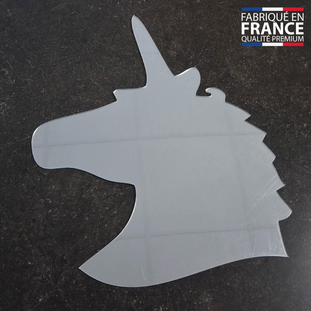 Miroir décoratif modèle tête de licorne - Série Animaux - Miroir mural acrylique pour décoration intérieure