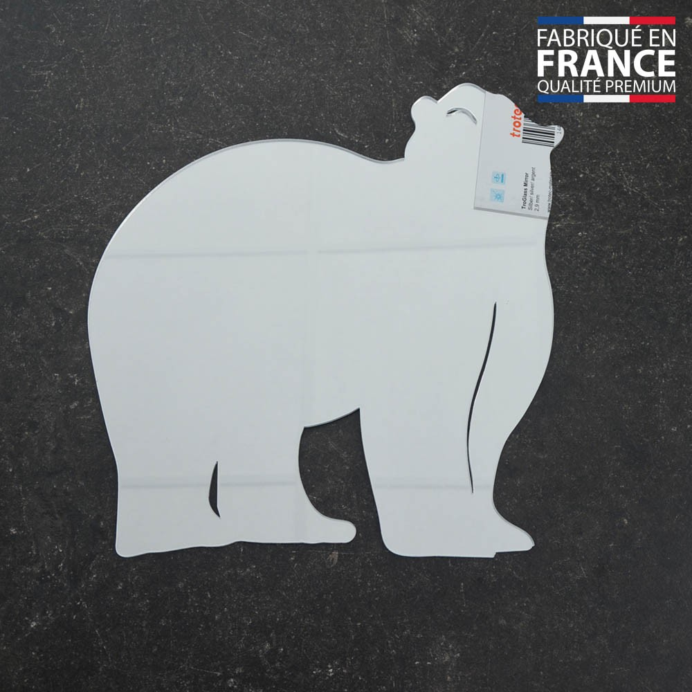 Miroir décoratif modèle Ours - Série Animaux - Miroir mural acrylique pour décoration intérieure