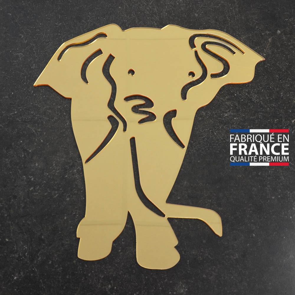 Miroir décoratif Or modèle Eléphant - Série Animaux - Miroir mural acrylique pour décoration intérieure