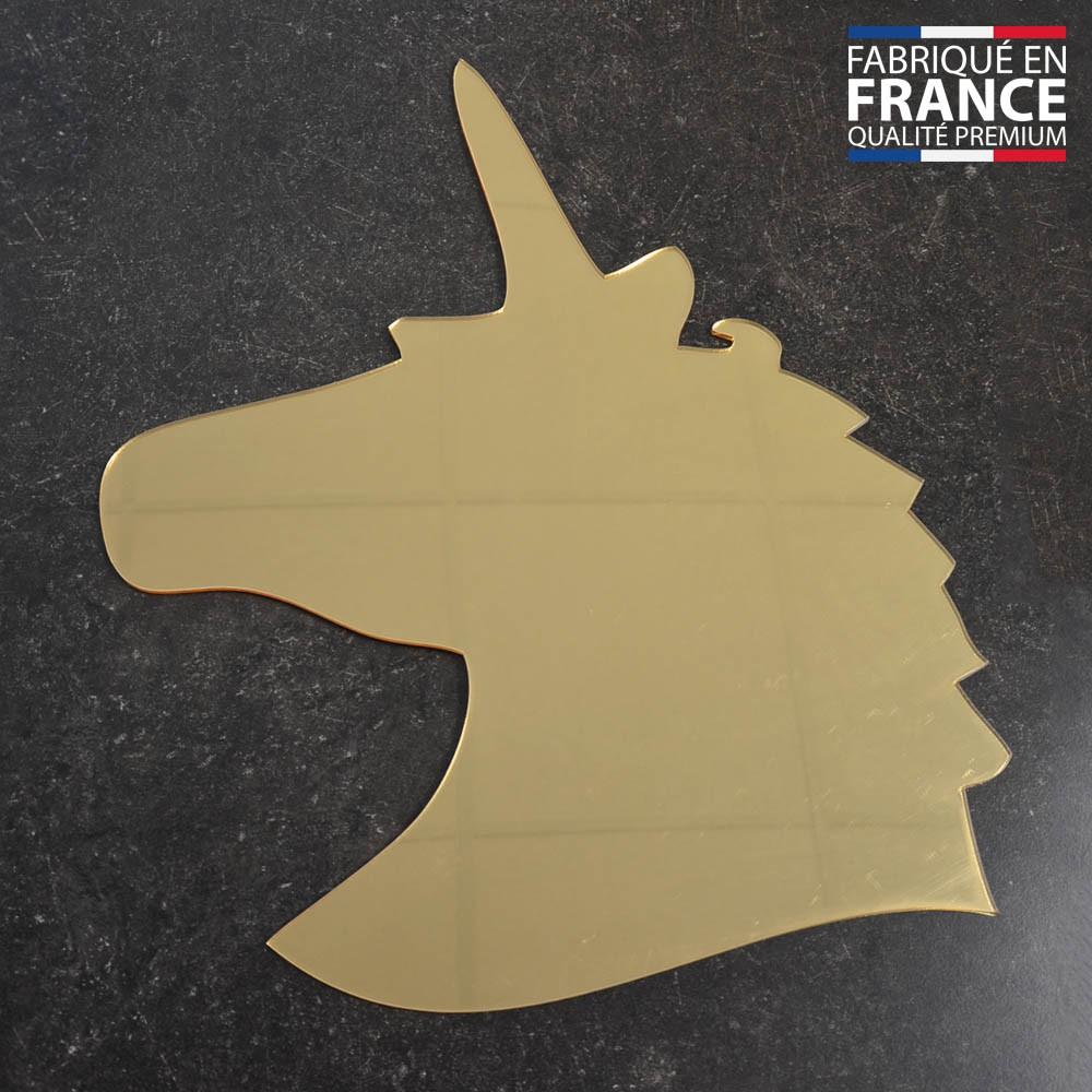 Miroir décoratif Or modèle licorne - Série Animaux - Miroir mural acrylique pour décoration intérieure
