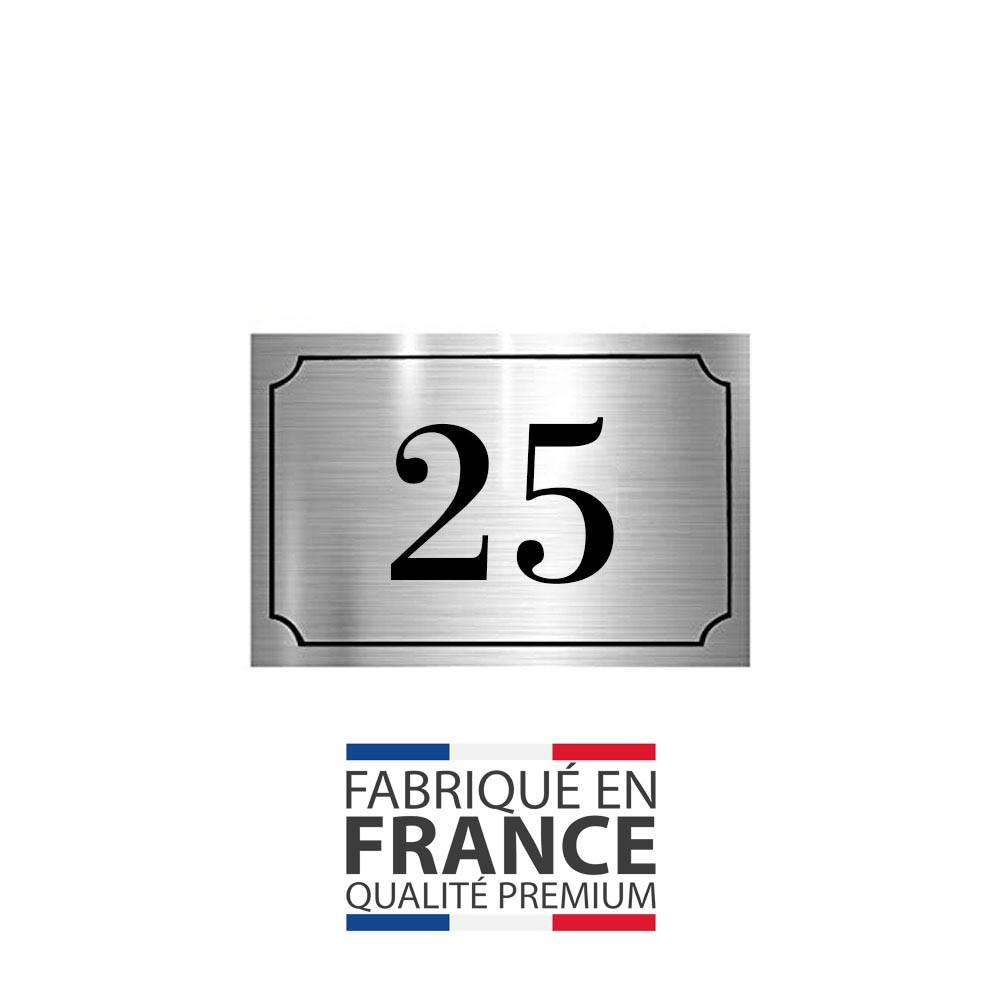 Numéro de maison / rue gravé et personnalisé couleur argent chiffres noirs - Signalétique extérieure