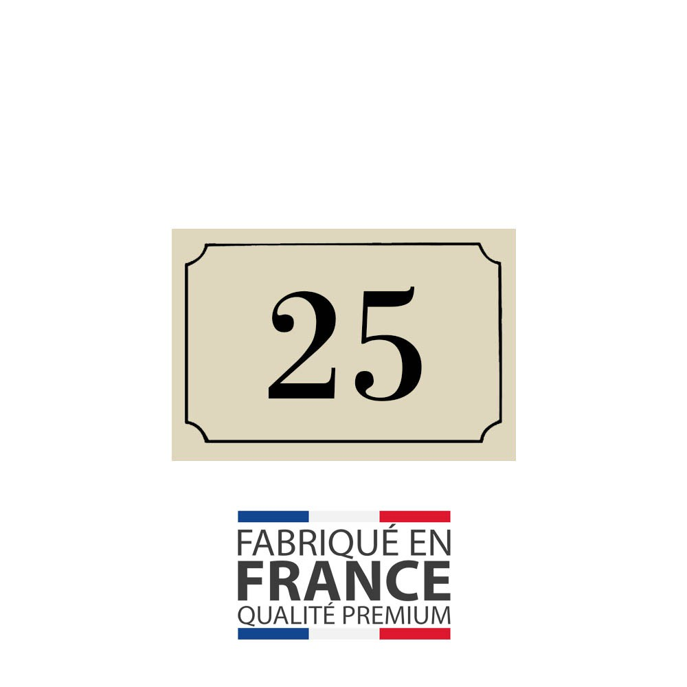 Numéro de maison / rue gravé et personnalisé couleur beige chiffres noirs - Signalétique extérieure